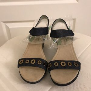 Anne Klein Shoes - Anne Klein Sport Navy Denim Wedge Heel Sandal